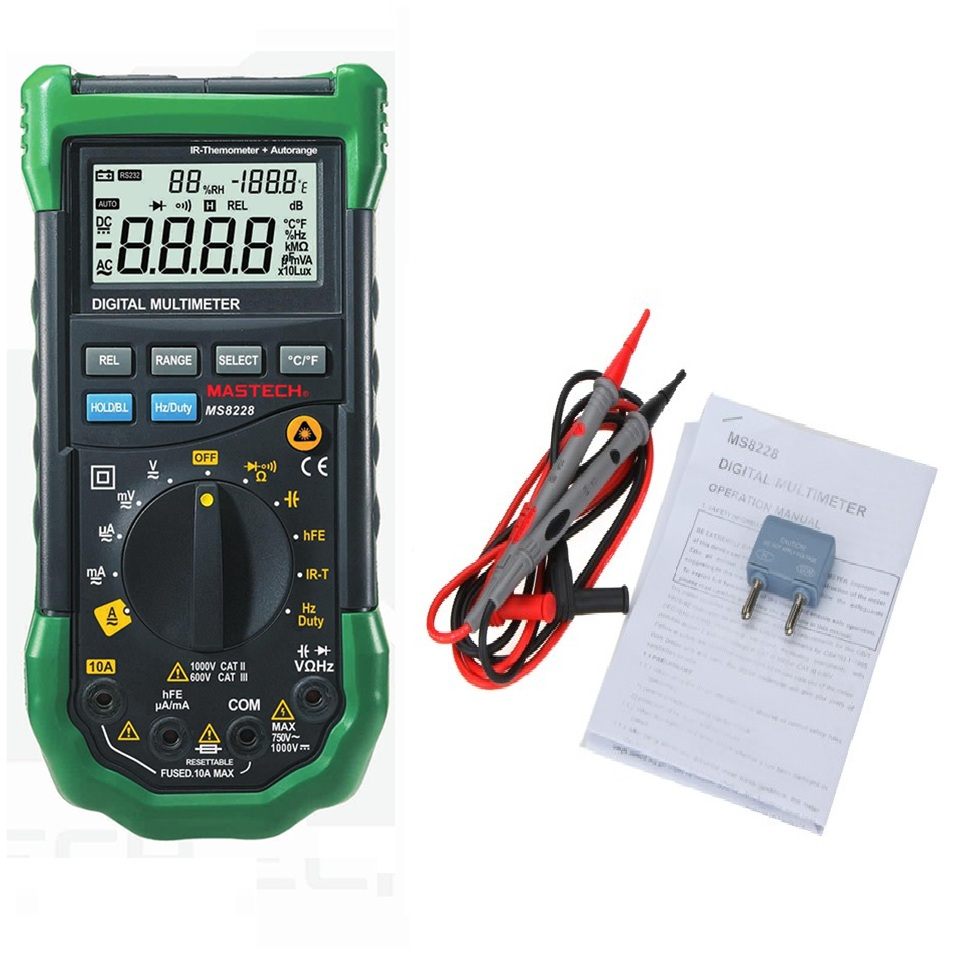 MASTECH MS8228 Auto Range 4000 Counts Digital Multimeter Multifunctional Infrared Thermometer Environmental Hygrometer Meter mastech ms8217 4000 counts digital multimeter black army green