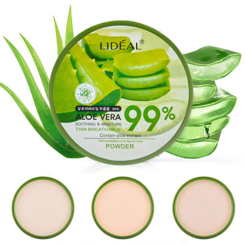 Natural Aloe Vera Face Powder Moisturizing Smooth Foundation Pressed Powder Makeup Concealer Pores Cover Brighten Powder Matte image