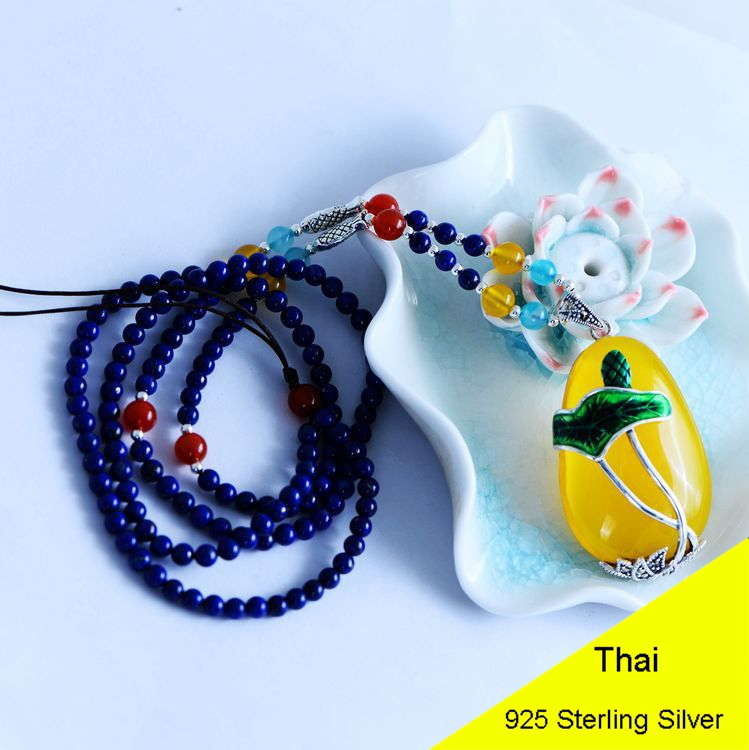 925 Sterling Silver Women Lapis Beads Yellow Chalcedony Lotus Leaves Pendant Necklace Rope Chain Thai Silver Jewelry CH057271 925 sterling silver women lapis beads yellow chalcedony peacock pendant necklace rope chain thai silver choker jewelry ch057272