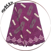 Aso Ebi Nigerian Voile Lace Fabric 2018 High Quality Stones Swiss Grey Magenta Cotton For African