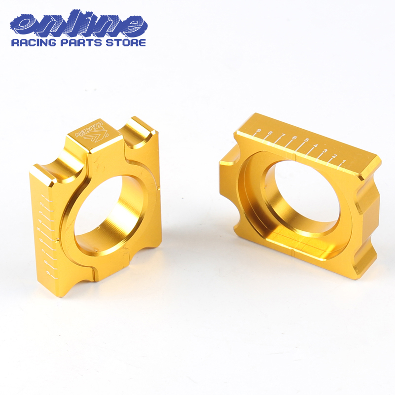 Rear Chain Adjuster Axle Blocks For Suzuki RMZ 250 RMZ250 RMZ450F 04-16 2005 2006 2007 2008 2009 2010 2011 2012