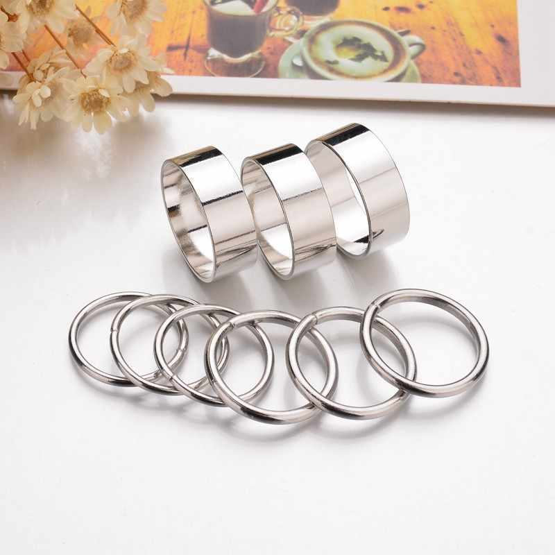 2018 New Hot 9PCS 1Set Gold Silver Color Rings Set for Women Punk Wide Band Ring Stack Plain Knuckle Midi Mid Rings Set gift