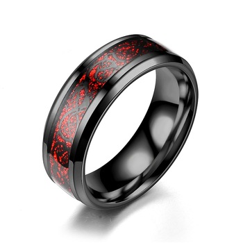 Men Ring Jewelry Red Blue Black Dragon Inlay Comfort Fit Stainless Steel Rings for Men Wedding Ring Wide 8mm 1