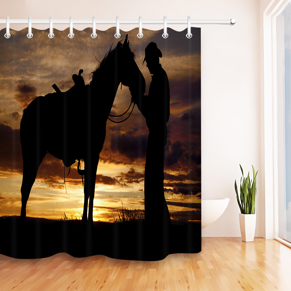 Vintage Cowboy and Horse Sunset Scenery Waterproof Bathroom Shower Curtain Polyester Fabric Bathroom Curtain & 12 Hooks