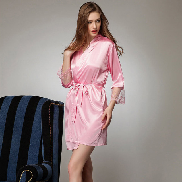 2016 Silk Bathrobe Women Satin Kimono Robes For Women Robes Bridesmaids Long Kimono Robe Bride Silk Robe Dressing Gown