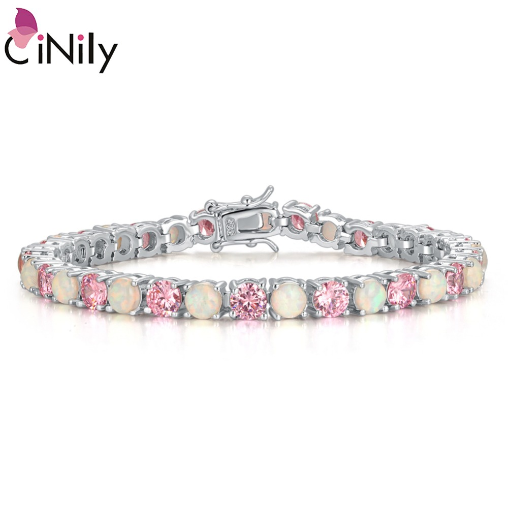 CiNily 2019 White Pink Rose Red Fire Opal Stone Chain Bracelets Silver Plated Fine Link Bracelet Sweet Summer Jewelry Gifts Girl
