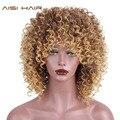 AISI pelo de alta temperatura de fibra marrón y Color rubio sintético Pelo Corto rizado Afro pelucas para las mujeres negro pelo