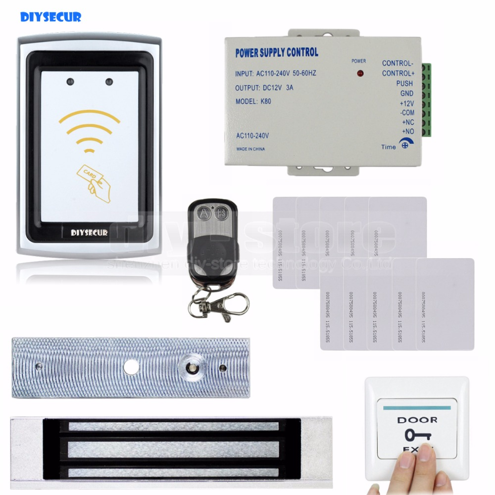 DIYSECUR Remote Control 125KHz RFID Reader 180KG Magnetic Lock Door Access Control Security System Kit diysecur magnetic lock door lock 125khz rfid password keypad access control system security kit for home office