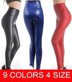 Plus size envío gratis 2016 de las nuevas mujeres sexy flaco de cuero de imitación de alta cintura de las polainas jadean xs/s/m/l/xl 17 colores