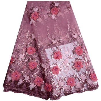 PINK COLOR Tulle Lace Fabric 3D flower High Quality Beaded Lace Fabric Beautiful Applique Nigerian Lace Fabric For Wedding 888