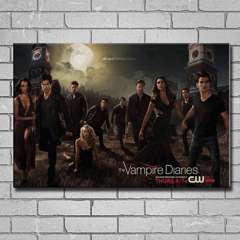 Y095 Hot Film Acara TV-The Vampire Diaries TV 14x21 24x36 27x40 Inci Art Silk Dinding Poster Cetak Kanvas Sticker