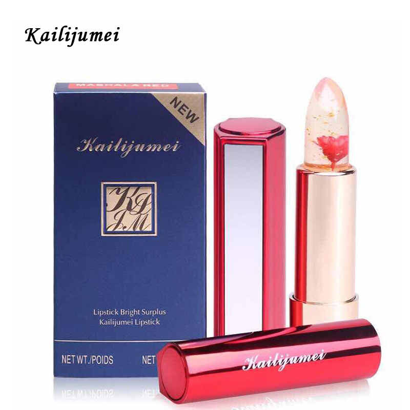 Brand Kailijumei Magic Color Temperature Change Moisturizer Bright Surplus Lipstick Lips Care Jelly Flower Lipstick