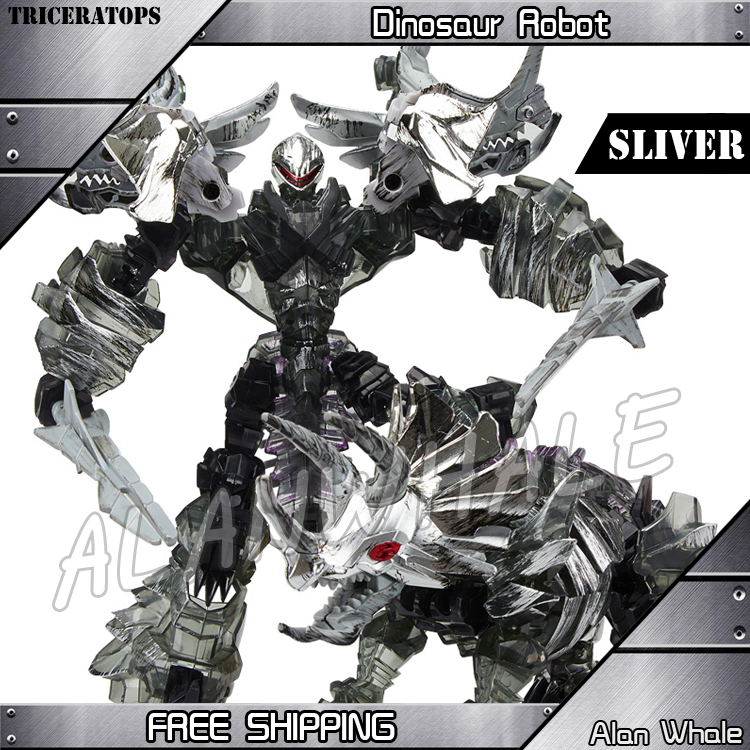 L Size Sliver Dinosaur Mechanical Triceratops Transformation Action Figures Anime Movie Alloy ABS Plastic Class Model Toys Robot 2017 new edage simulated dinosaur animal model 1 35 resin born triceratops cub children s toys