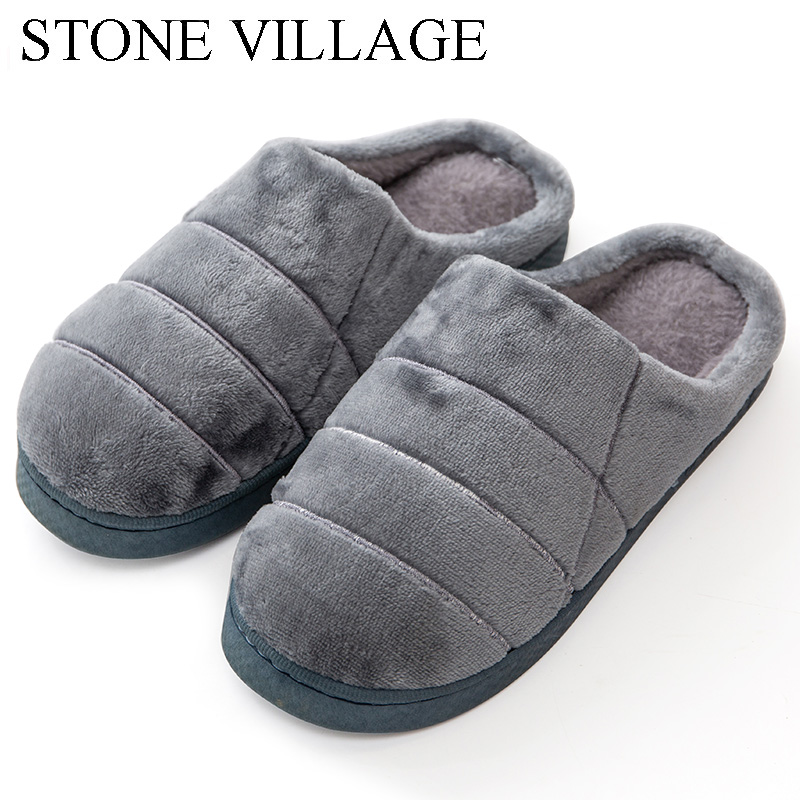 STONE VILLAGE Soft Plush Warm Home Slippers Men Casual Solid Non-Slip Indoor Flats Shoes Lovers Women Slippers Cotton Shoes lovers short plush winter warm indoor slippers casual men