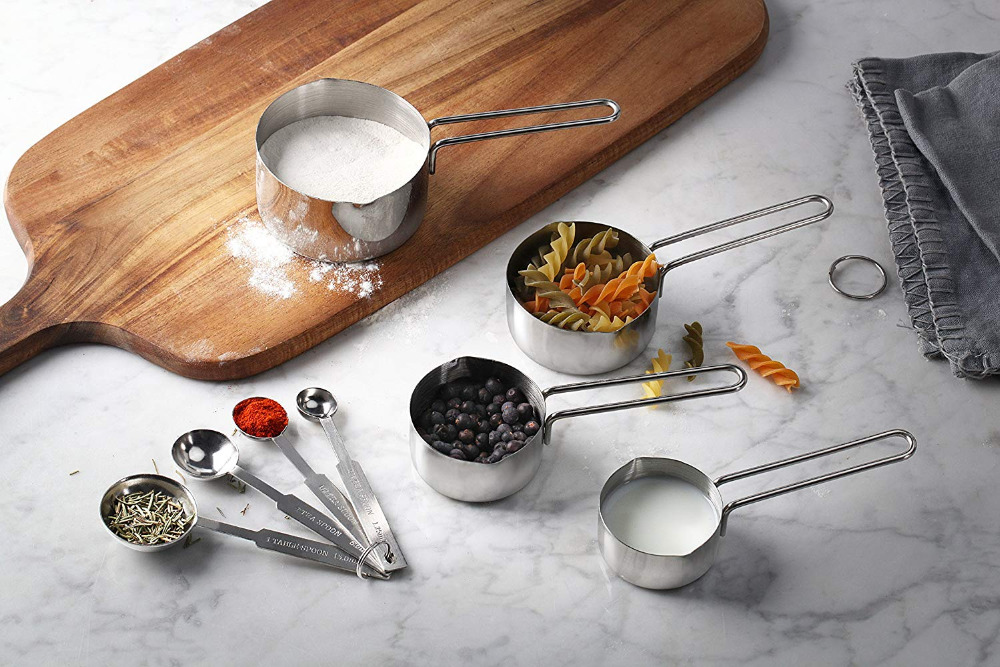 Set of 8 Stainless Steel Measuring Spoons and Measuring Cups Combo Kitchen Bake Decortating Cake Tools in Bakeware Sets from Home Garden