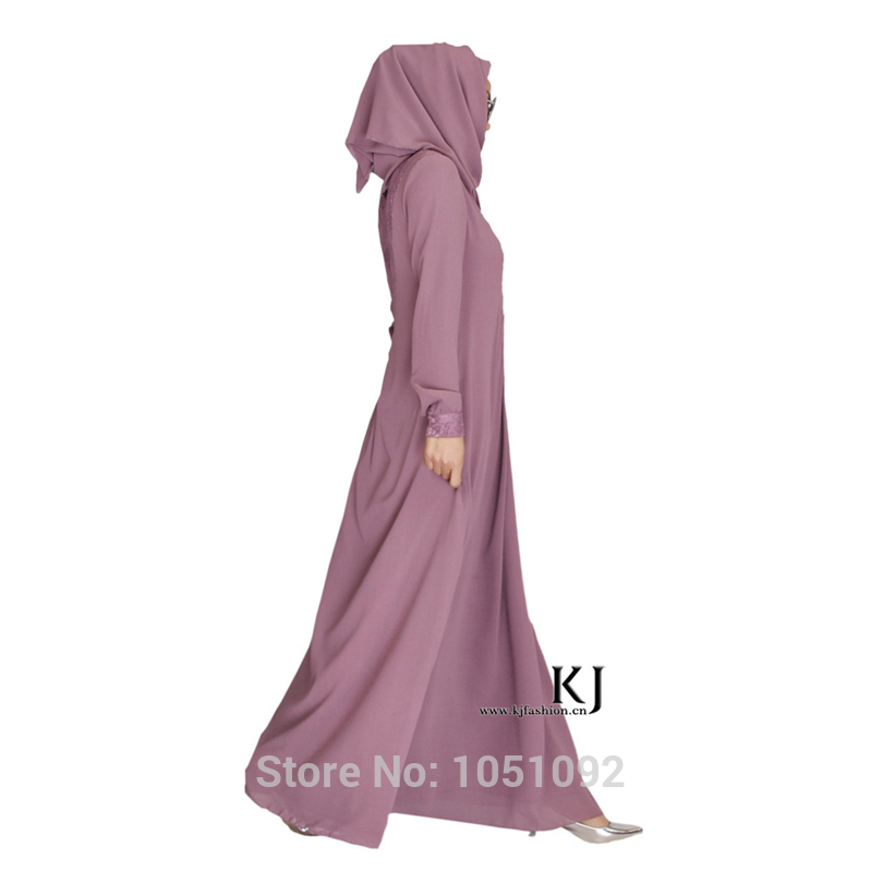 Satin+composite Silk Fabric 20150202 Muslim Women Abaya Long Sleeve Maxi Dress High Quality Lace Islamic Clothing Novelty & Special Use