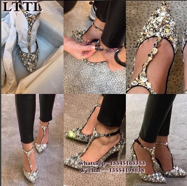 Printemps automne t-strap bout pointu femmes pompes argent strass femmes chaussures talons hauts cristal t-strap chaussures de mariée mariages