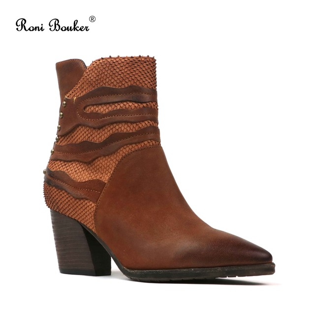 Roni Bouker 2018 Vintage Women Pointed Toe Boots High Heel Genuine Leather Handmade Chunky Heels Ankle Booties Classic Shoes