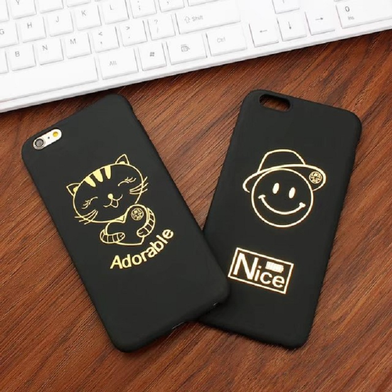 plain Black stick gold flash <font><b>cell</b></font> <font><b>phone</b></font> shell <font><b>phone</b></font> cases for Apple iphone 5 5s 6 6s <font><b>7</b></font> plus Noble black gold mobile <font><b>phone</b></font> soft