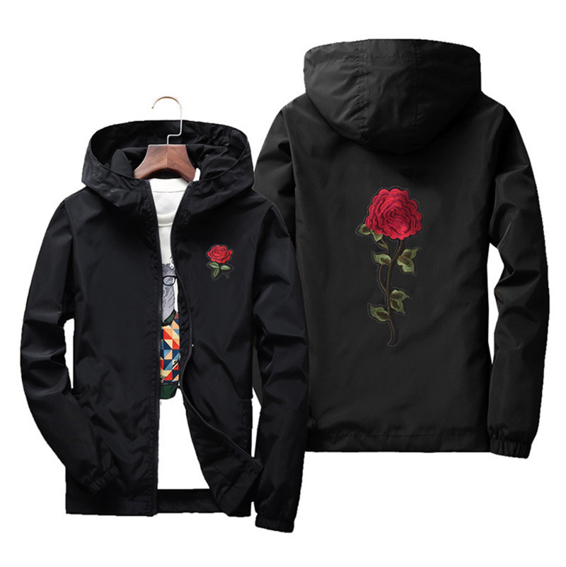 7XL Women   Basic     Jackets   2019 Spring Women Hooded   Jacket   Coats Embroidery Rose Causal Men windbreaker Bomber   Jacket   Famale QH147