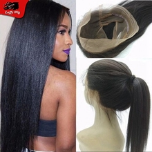 Yaki straight Brazilian human hair 360 lace frontal closure pre plucked straight virgin hair 360 lace frontal with baby hair