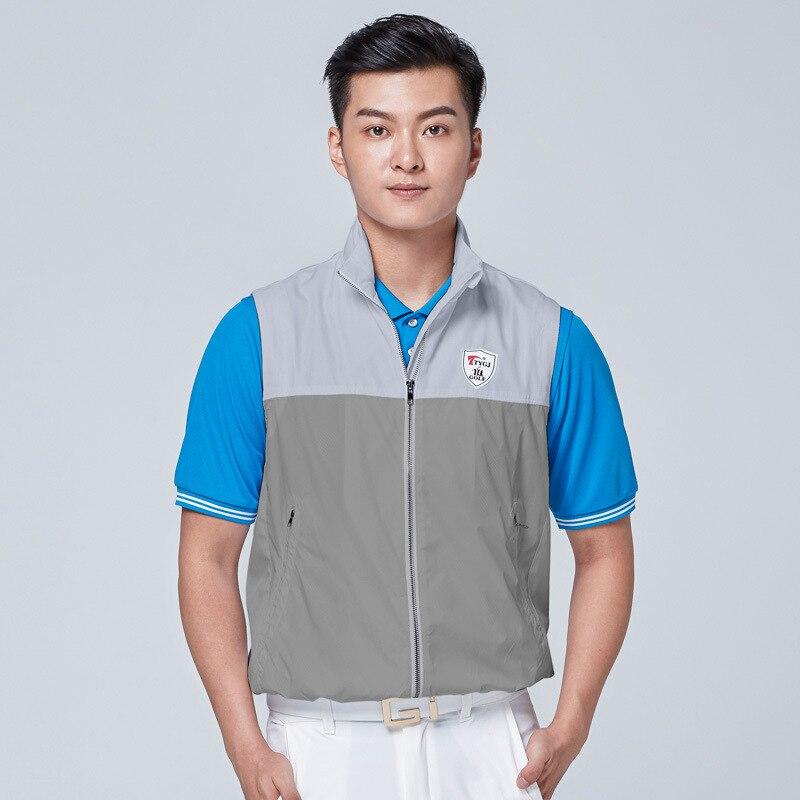 Golf Jackets Men Windproof Vest Coat Windbreaker Full Zipper Sleeveless Jacket Vest Sportswear Golf Apparel D0660