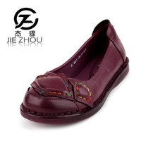 Spring Vintage Handmade Women Shoes Purple Black Genuine Leather Flats Shoe Casual Soft Bottom Mother Shoes