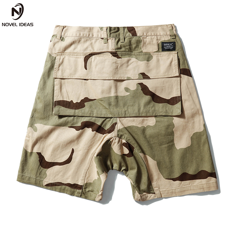 Novel ideas HIP HOP CAMO SHORTS 2018 Summer Men Top Design Camouflage Military Army Khaki Shorts Elastic Waist Knee Length ...
