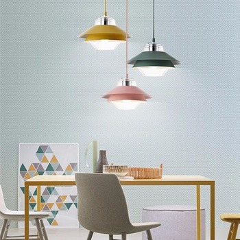YWXLight Modern LED Chandelier Creative Personality E27 5W Color Macaron Chandelier For Cafe Bedroom AC 85-265V