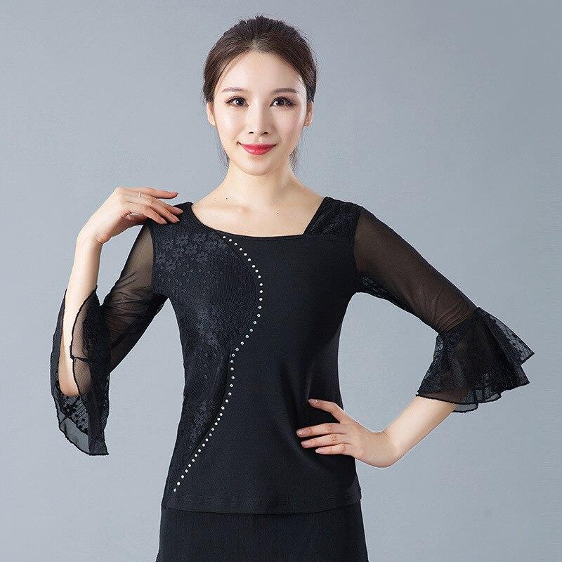 Женские костюмы для бальных танцев, топы, латинские танцевальные блузки, современные стандартные наряды, танго, вальс, Сальса Самба, топы для взрослых - Цвет: black