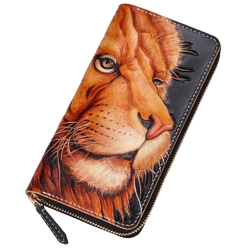 Genuine Leather Wallets Carving  The Lion King Purses Men Long Clutch Vegetable Tanned Leather Wallet Card HolderGenuine Leather Wallets Carving  The Lion King Purses Men Long Clutch Vegetable Tanned Leather Wallet Card Holder