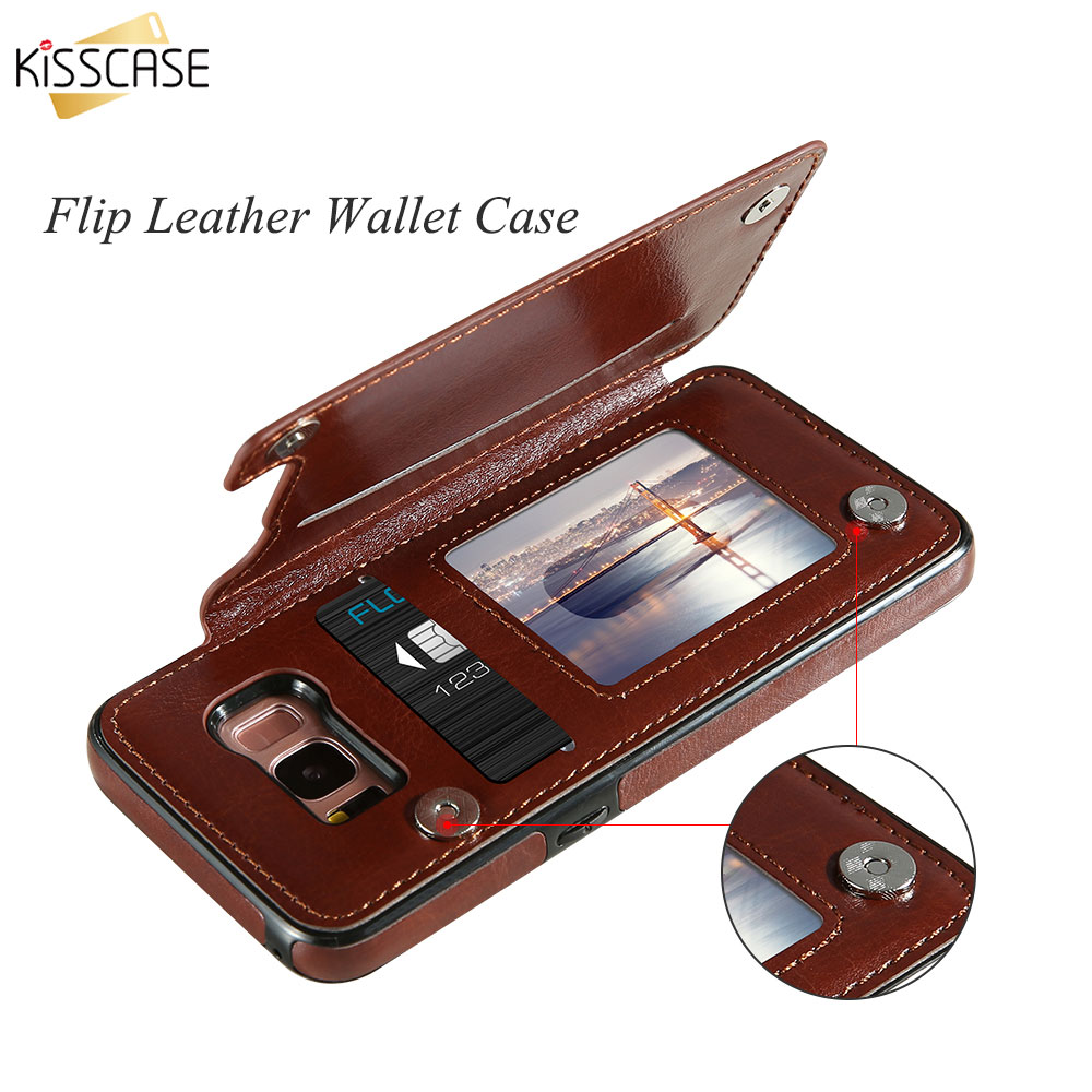 KISSCASE Case For Samsung Galaxy S9 S8 Plus Retro Flip Leather Wallet Case For Samsung Galaxy S7 S7 edge Note 8 S8 S9 S7 Cases