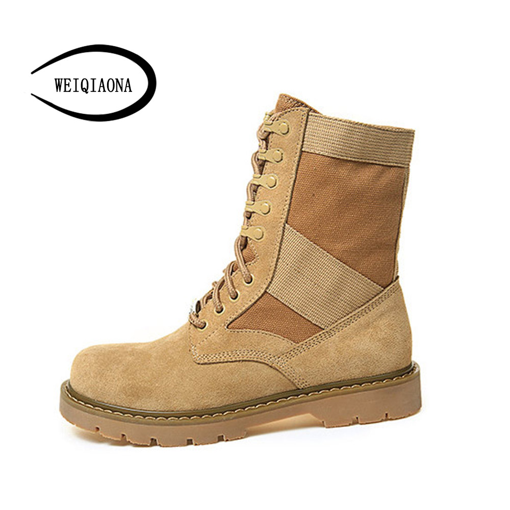 Women's shoes Couple shoes new leather Martin boots desert boots fashion classic outdoor combat boots Couple shoes