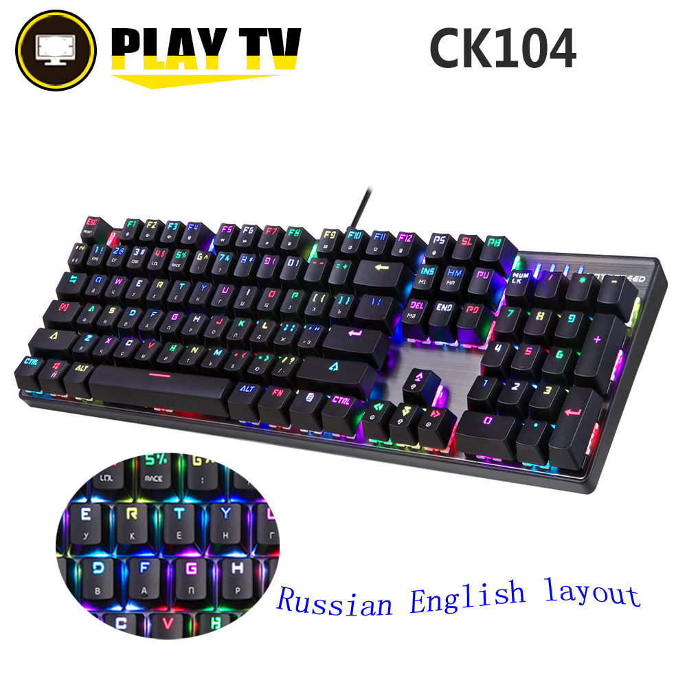 Motospeed CK104 Russo Inglese Tastiera In Metallo Blu Rosso Interruttore Gaming Cablata Tastiera Meccanica RGB Anti-Ghosting per Computer