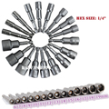 "14PCS  6~19mm Socket Sleeve Professional Magnetic Nut Driver Set Metric Socket 1/4"" Hex Drill Bits Adapter Power Tools Kit"
