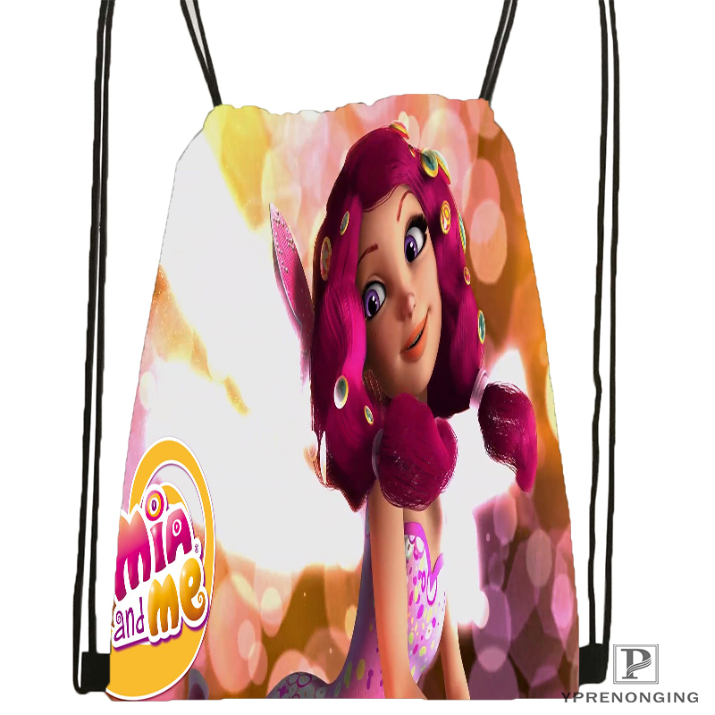 Custom Mia And Cartoon Me  Drawstring Backpack Bag Cute Daypack Kids Satchel (Black Back) 31x40cm#180531-01-49