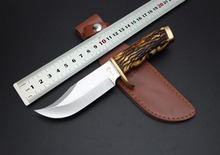 HOT! USA Elk Ridge Hunting Knife, High class gift, 440 Blade Bone Handle Sanding Outdoor Survival Knife, Camping Tools