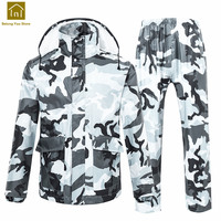 Camouflage Women Raincoat With Hood Men Rain Suit Pants Camping Poncho Militar Rain Coat Waterproof Chubasquero Hombre QKR224