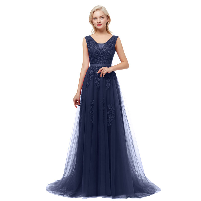 Beauty-Emily V Neck Lace Appliques Navy Blue Bridesmaid Dresses 2020 Long For Women WeddingParty Prom Dresses A-Line Sleeveless