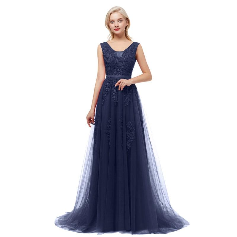 Beauty-Emily V Neck Lace Appliques Navy Blue Bridesmaid Dresses 2020 Long For Women WeddingParty Prom Dresses A-Line Sleeveless