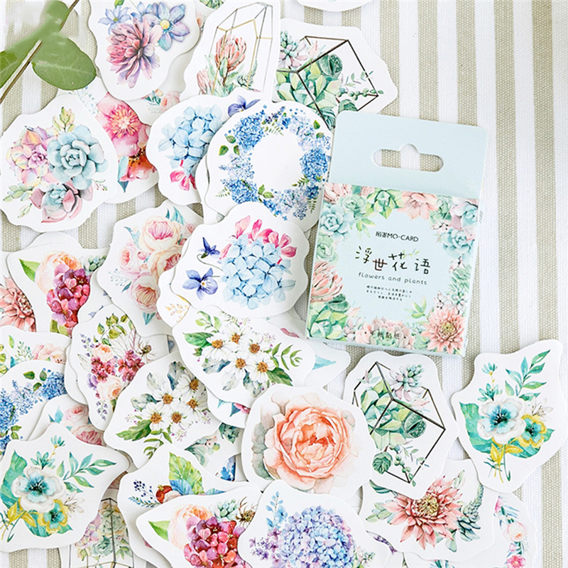46pcs Cute Flower Series Paper Sticker For Album Scrapbooking Flower Stickers Flakes Stationery School Supplies Diy Diary Decor