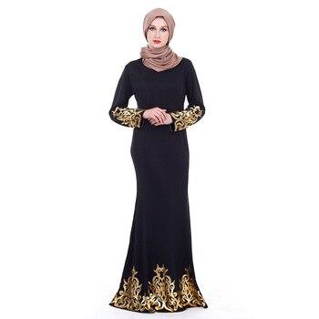 7451f0da29 Musulmán Maxi largo traje mujeres oriente medio dorado impresión vestido de  sirena de Dubai árabe islámica