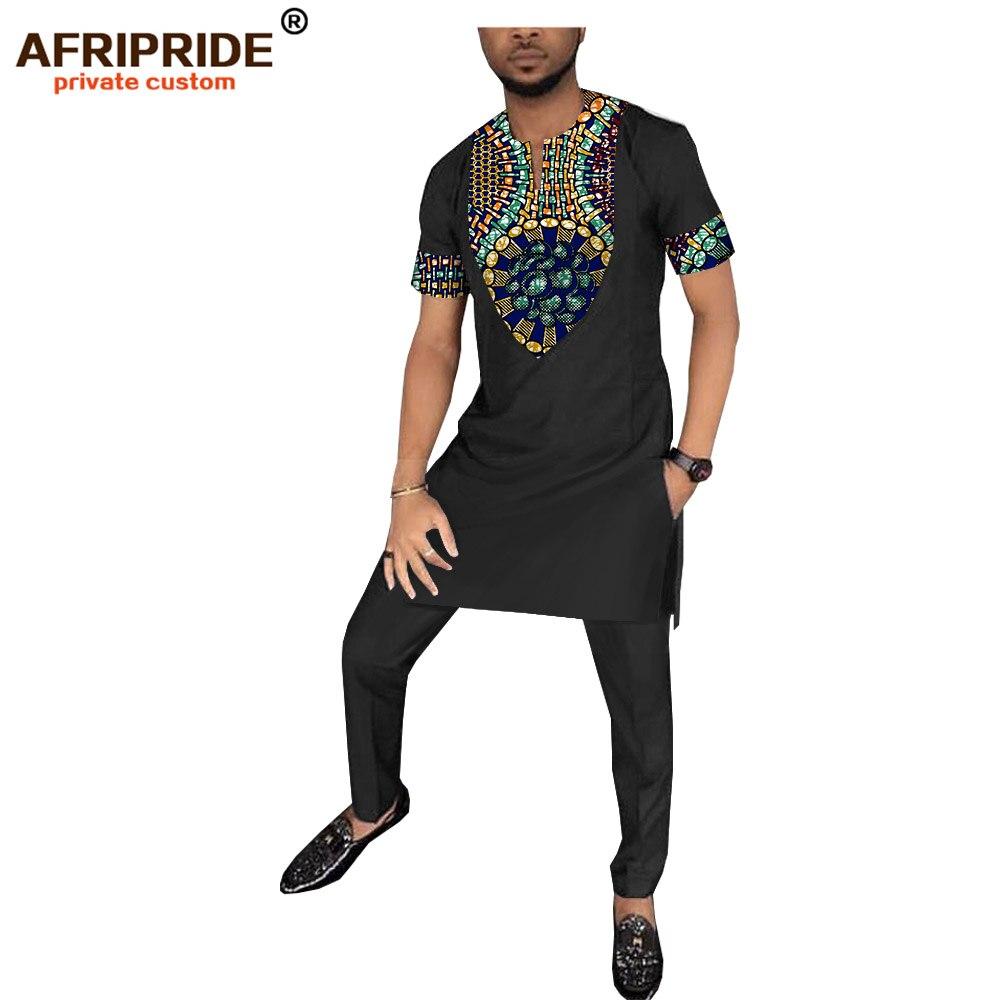 2019 الربيع الأفريقي طباعة سراويل تقليدية مجموعة للرجال AFRIPRIDE قصيرة الأكمام طويلة أعلى + كامل طول السراويل الرجال القطن مجموعة A1816009-في مجموعات للرجال من ملابس الرجال على  مجموعة 2