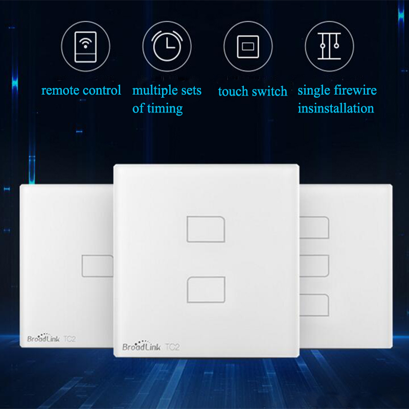 Broadlink TC2 Wireless 2/1/3 Gang Remote Control APP Switch Wifi Wall Light Touch Screen Timer Switch Smart Home EU Standard