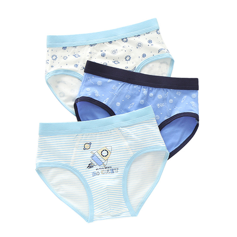 3 Pieces Baby Boys Briefs Panties Cartoon Designs Underwears Children Cotton Short Briefs Kids Panties For 2-14T