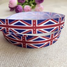 "Free Shipping 5/8"" 16mm England Flag Ribbon Grosgrain Printed DIY handmade hair accessories accessories(China)"