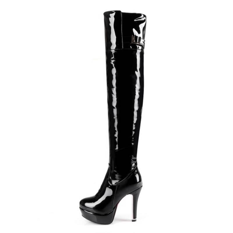 Femmes De Fourrure rouge 30 Chaude Chaussures Noir Froid 48 À Taille Fizaizifai Plate forme Des En Sur Botas Genou Glissière Hiver Au Bottes Verni Cuir xtApafw