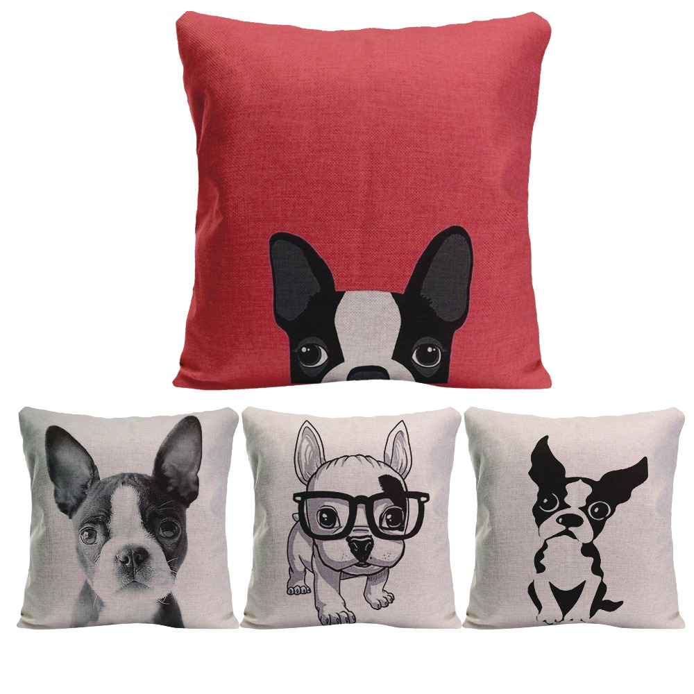 bulldog pillow pet promotionshop for promotional bulldog pillow  - cotton linen square throw pillow case bulldog designs printed decorativecushion cover cute pet dog cmcm for sofa