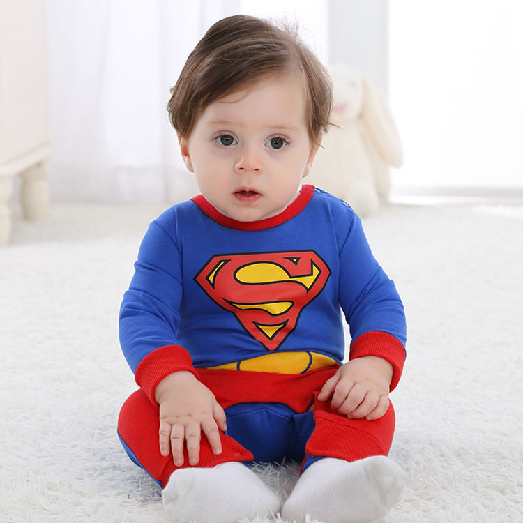 Superman Character Baby Rompers Blue Red Cotton Jumpsuit 2017 Toddler Overalls For 3 6 8 10 12 18 24 Months Baby Clothes RL6