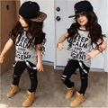 T-shirt Tops Pants Casual Stylish Kids Baby Girls Clothes Sets 2pcs Dark Gray Belt Hole Cotton 2016 Outfit Set Girl Age 2-7Y